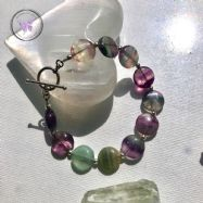 Fluorite Coin Bracelet With Silver Toggle Clasp